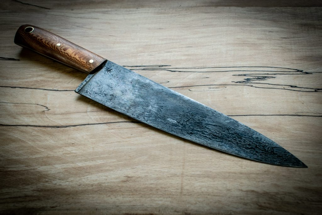 "Our slightly smaller 7"" (180mm) French 'Sabatier' style chefs knife. Constructed from 1950's salvaged high carbon steel and London plane tree removed from the grounds of the old Cambridge House 'Green Park'."